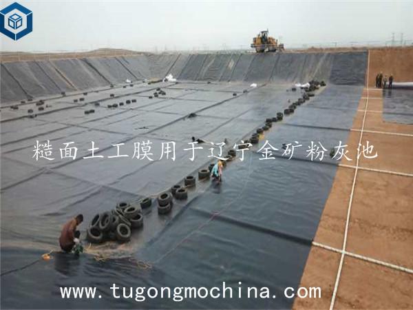 糙面土工膜用于辽宁金矿粉灰池